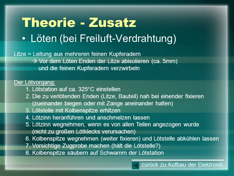 Theorie - Zusatz Löten (bei Freiluft-Verdrahtung)