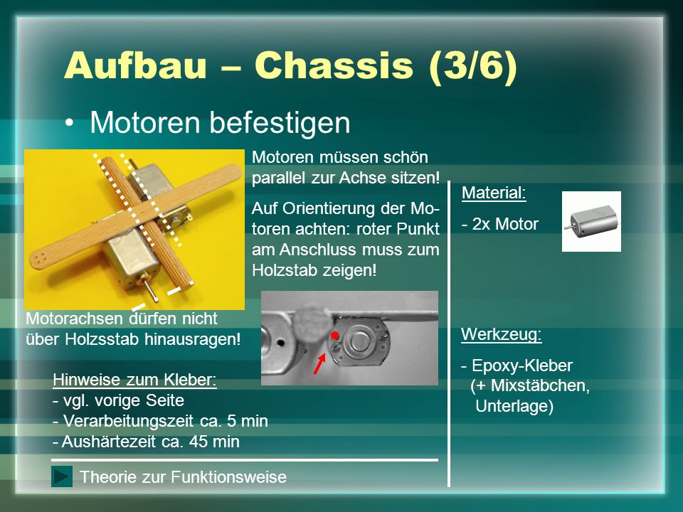 Aufbau – Chassis (3/6) Motoren befestigen