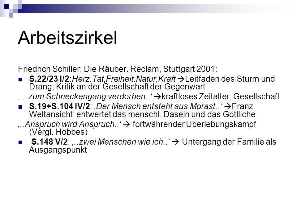 Arbeitszirkel Friedrich Schiller: Die Räuber. Reclam, Stuttgart 2001: