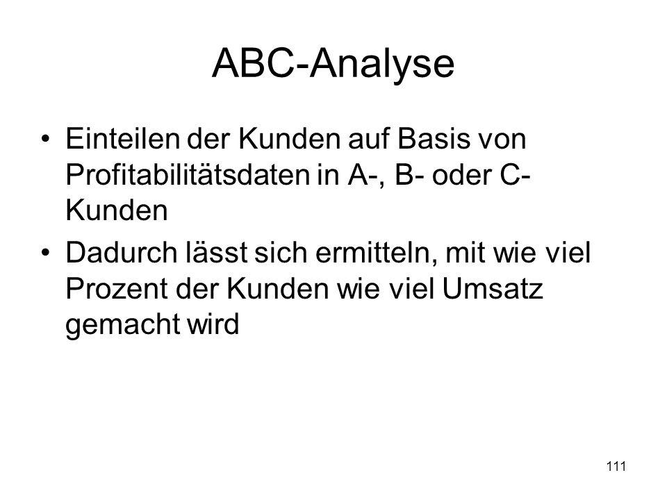 ABC-Analyse Einteilen der Kunden auf Basis von Profitabilitätsdaten in A-, B- oder C-Kunden.