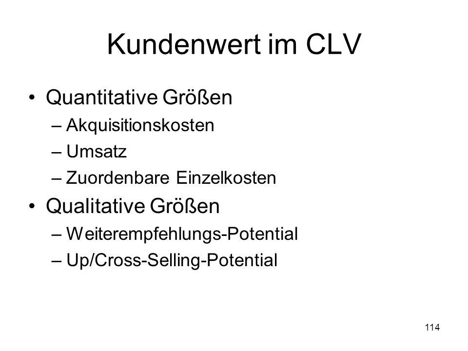 Kundenwert im CLV Quantitative Größen Qualitative Größen