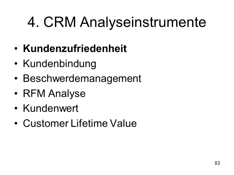 4. CRM Analyseinstrumente