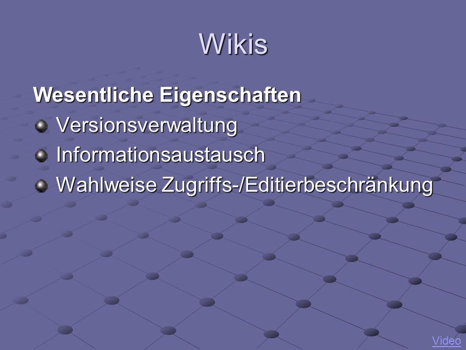 Wikis Wesentliche Eigenschaften Versionsverwaltung