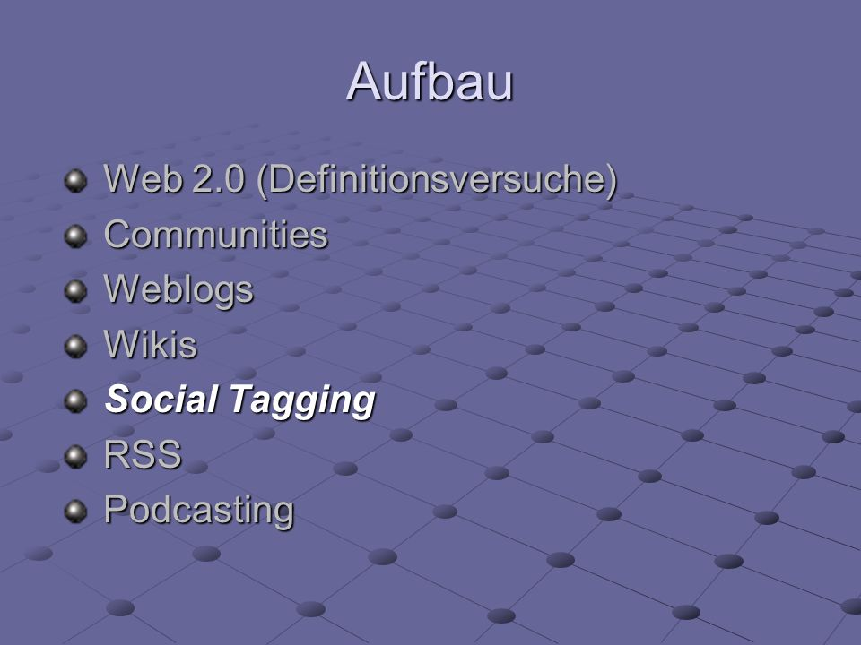 Aufbau Web 2.0 (Definitionsversuche) Communities Weblogs Wikis