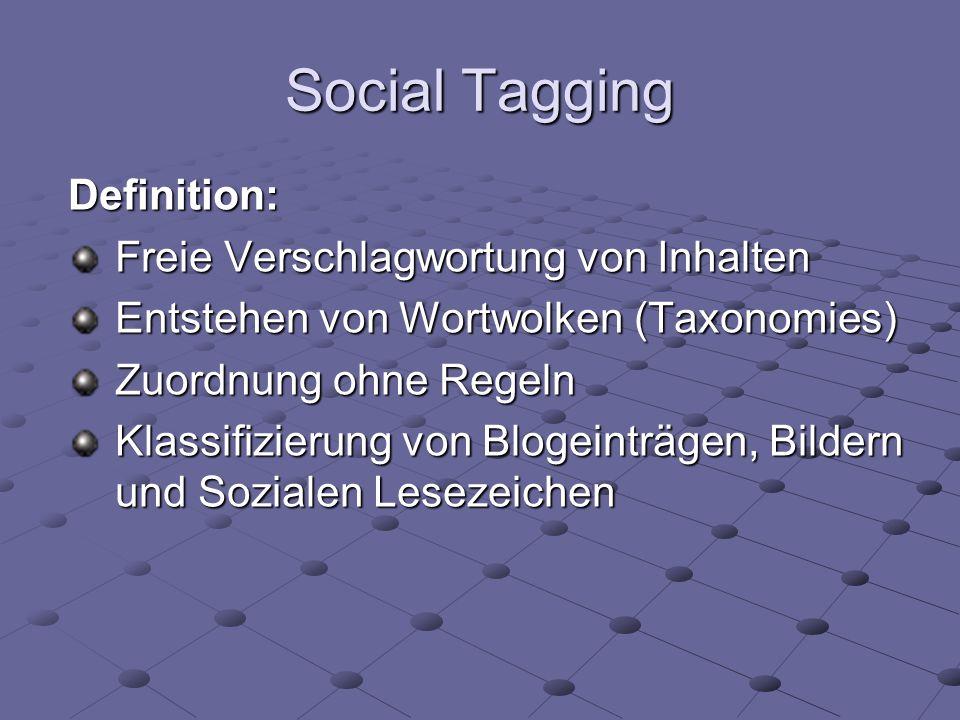 Social Tagging Definition: Freie Verschlagwortung von Inhalten