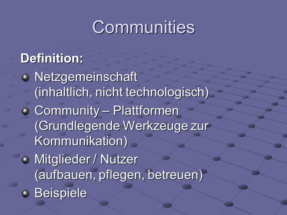 Communities Definition: