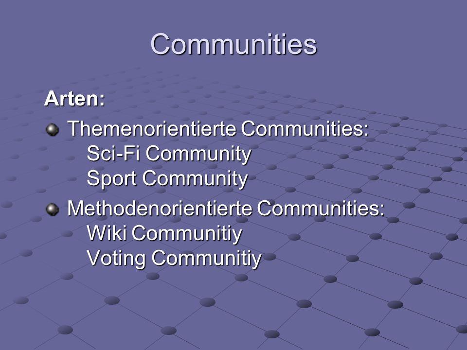 Communities Arten: Themenorientierte Communities: Sci-Fi Community Sport Community.