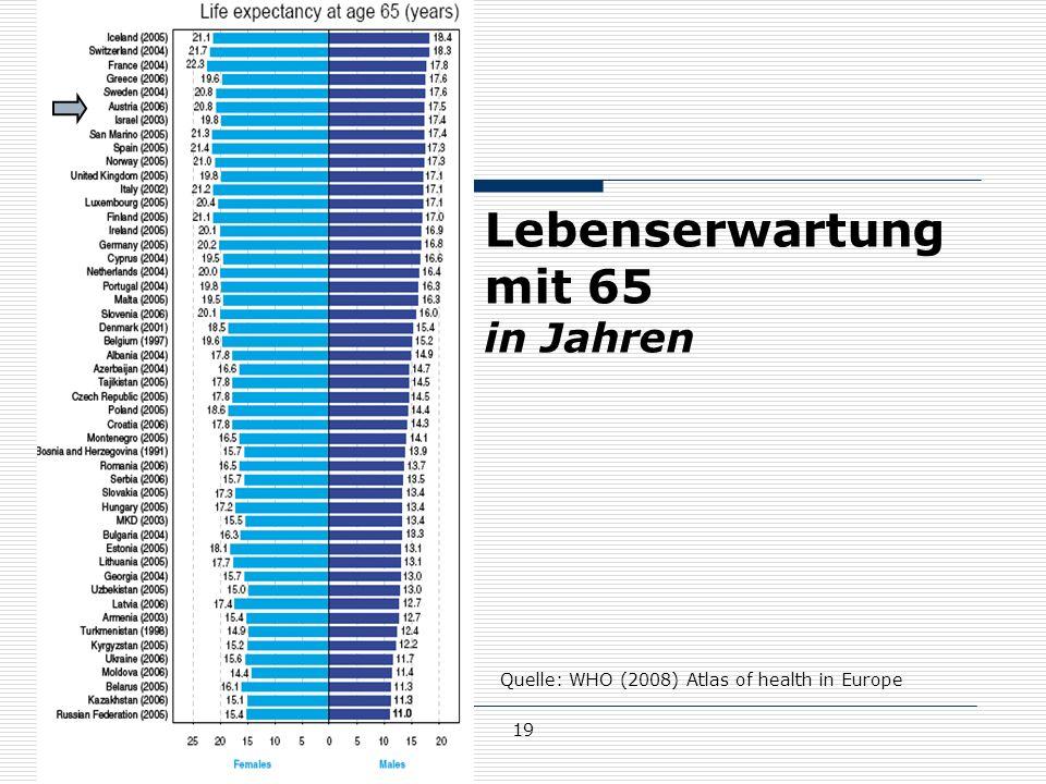 Lebenserwartung mit 65 in Jahren