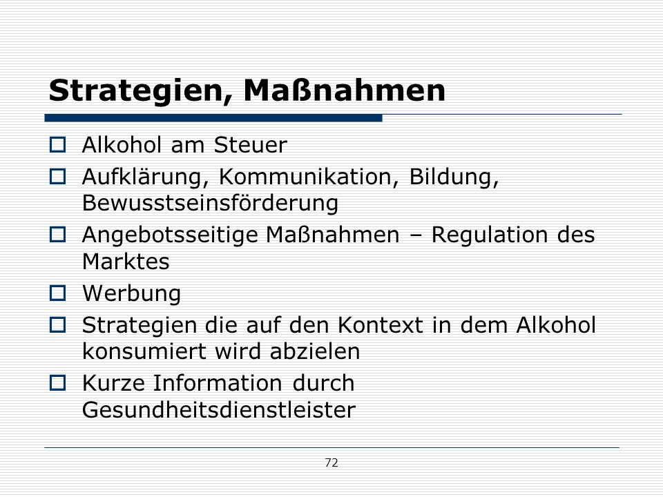 Strategien, Maßnahmen Alkohol am Steuer