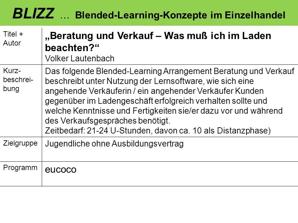 BLIZZ … Blended-Learning-Konzepte im Einzelhandel