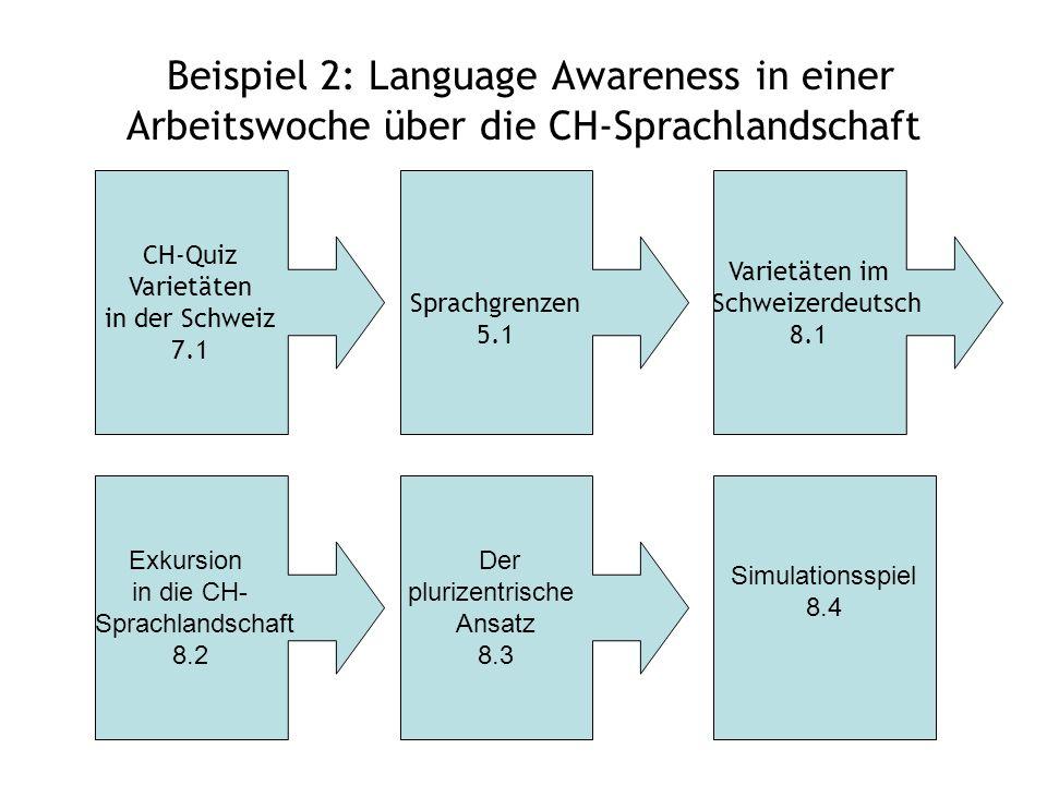 Beispiel 2: Language Awareness in einer Arbeitswoche über die CH-Sprachlandschaft