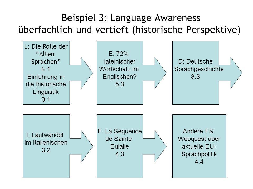 Beispiel 3: Language Awareness überfachlich und vertieft (historische Perspektive)