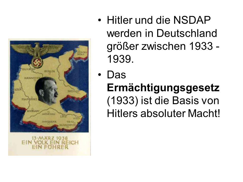 Hitler und die NSDAP werden in Deutschland größer zwischen 1933 - 1939.