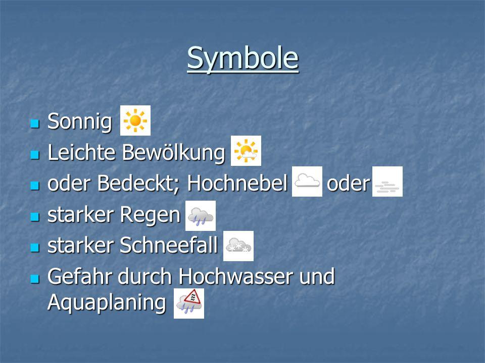 Symbole Sonnig Leichte Bewölkung oder Bedeckt; Hochnebel oder
