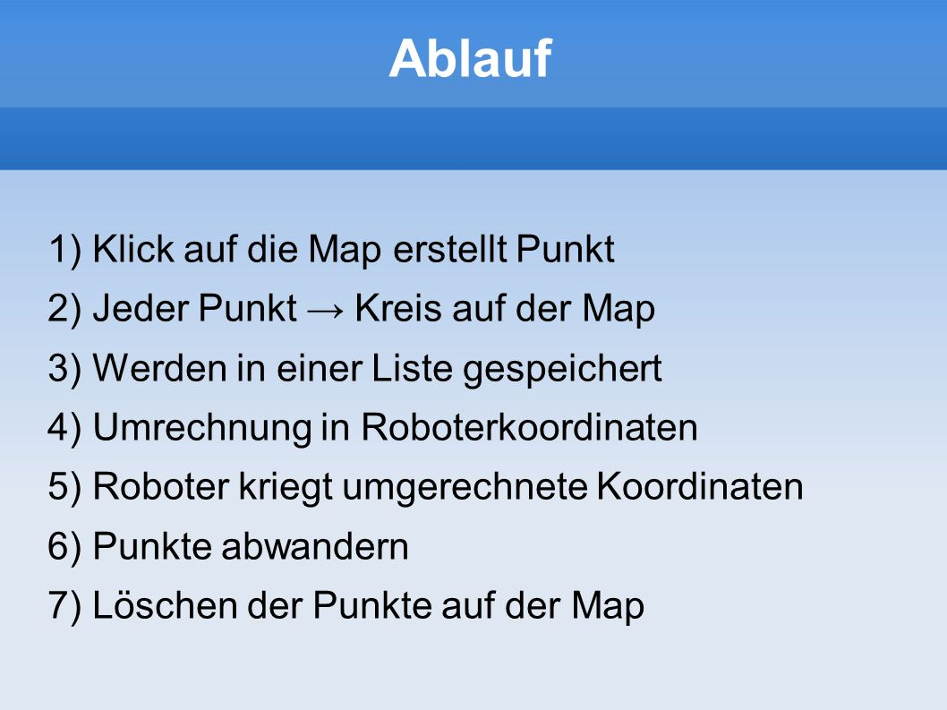 Ablauf Klick auf die Map erstellt Punkt