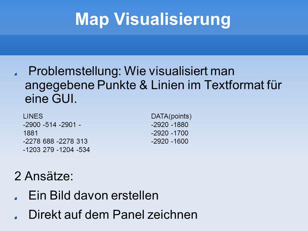 Map Visualisierung Problemstellung: Wie visualisiert man angegebene Punkte & Linien im Textformat für eine GUI.