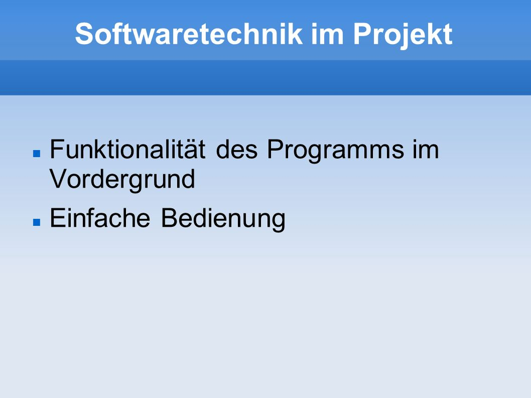 Softwaretechnik im Projekt