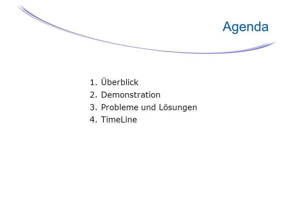 Agenda 2. Demonstration 3. Probleme und Lösungen 4. TimeLine