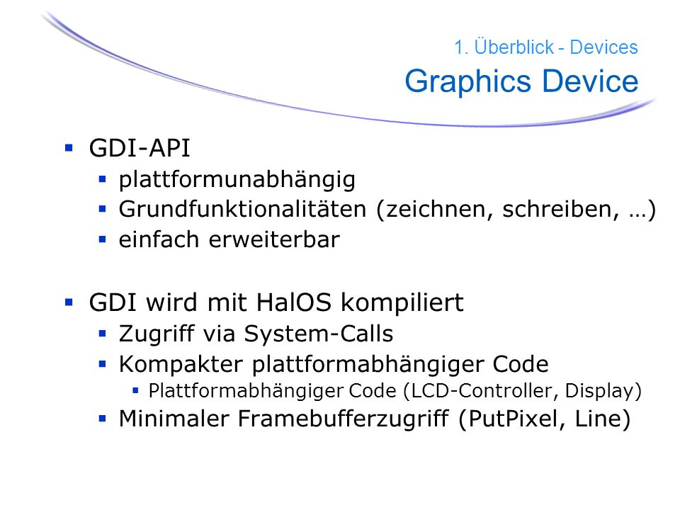 1. Überblick - Devices Graphics Device