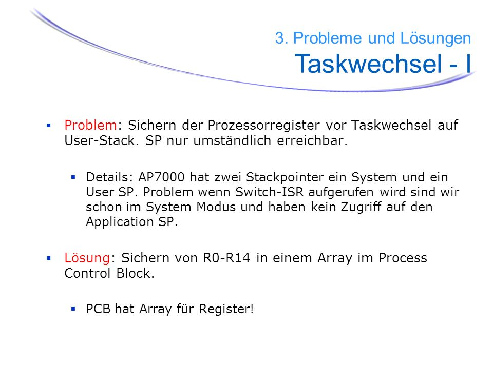 3. Probleme und Lösungen Taskwechsel - I