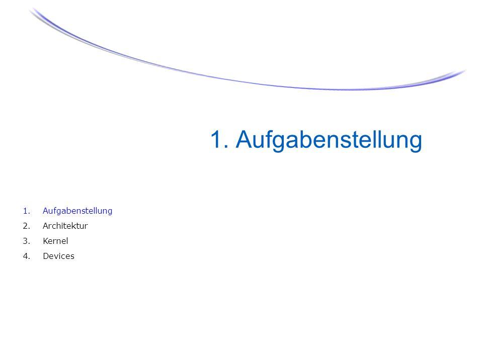 1. Aufgabenstellung 4 1. Aufgabenstellung 2. Architektur 3. Kernel