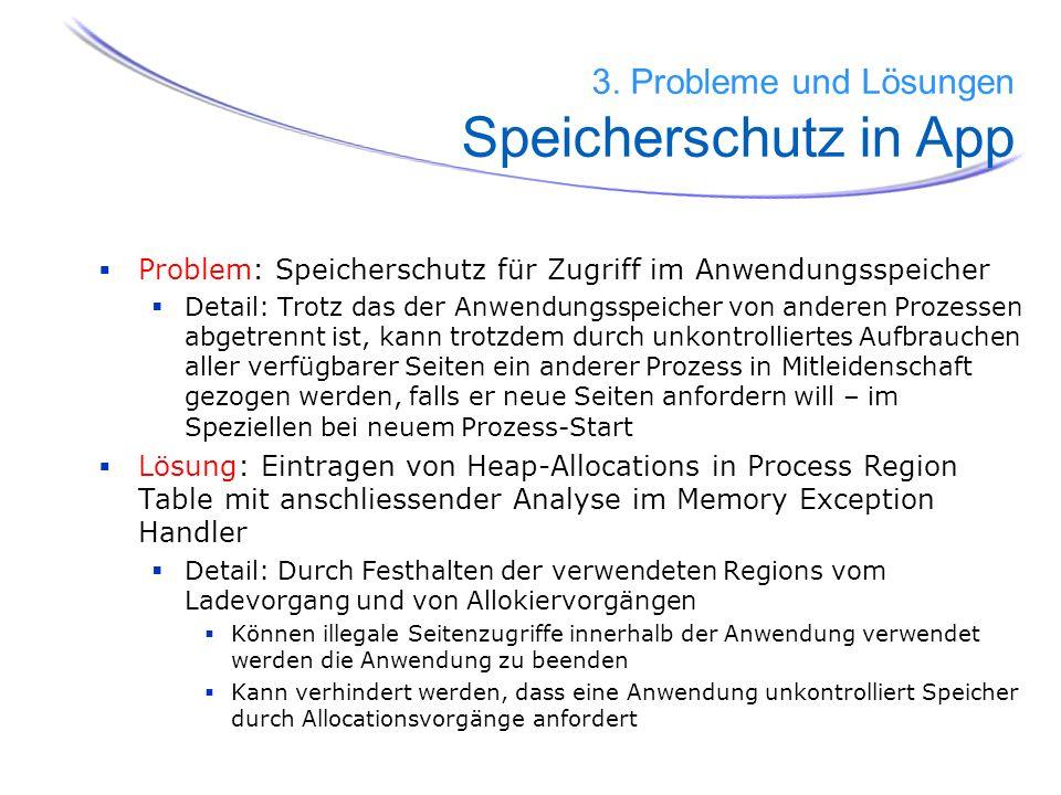 3. Probleme und Lösungen Speicherschutz in App