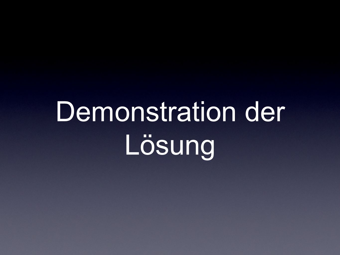 Demonstration der Lösung