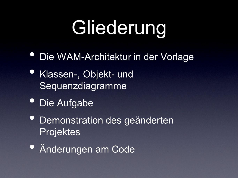 Gliederung Die WAM-Architektur in der Vorlage