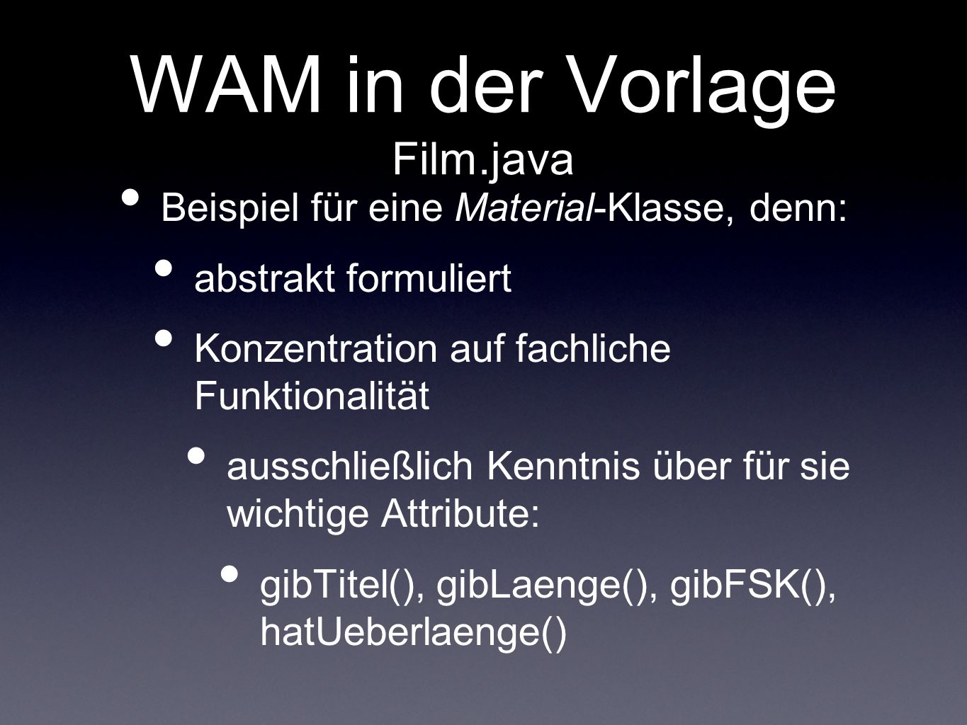 WAM in der Vorlage Film.java