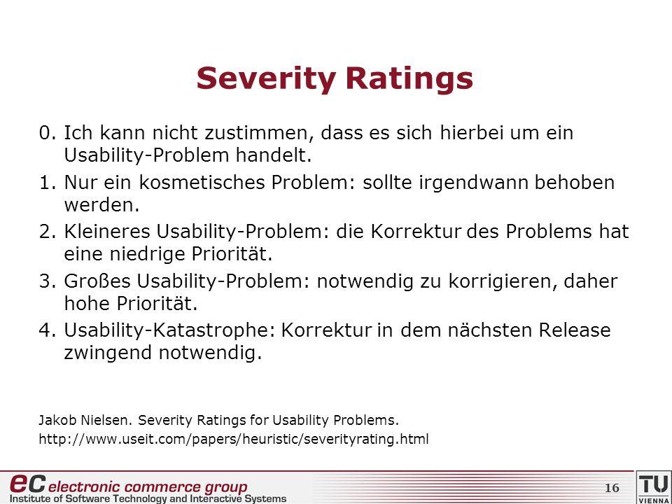 Severity Ratings0. Ich kann nicht zustimmen, dass es sich hierbei um ein Usability-Problem handelt.