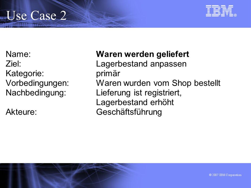 Use Case 2 Name: Waren werden geliefert Ziel: Lagerbestand anpassen