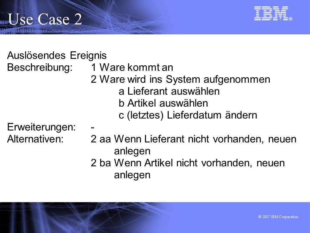 Use Case 2 Auslösendes Ereignis Beschreibung: 1 Ware kommt an
