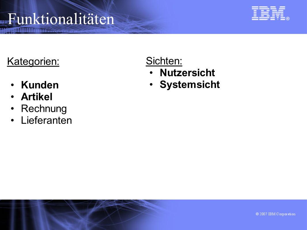 Funktionalitäten Kategorien: Sichten: Nutzersicht Kunden Systemsicht