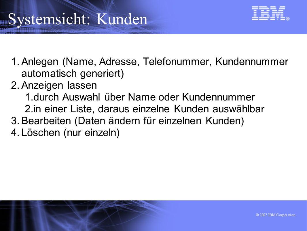 Systemsicht: Kunden Anlegen (Name, Adresse, Telefonummer, Kundennummer automatisch generiert) Anzeigen lassen.