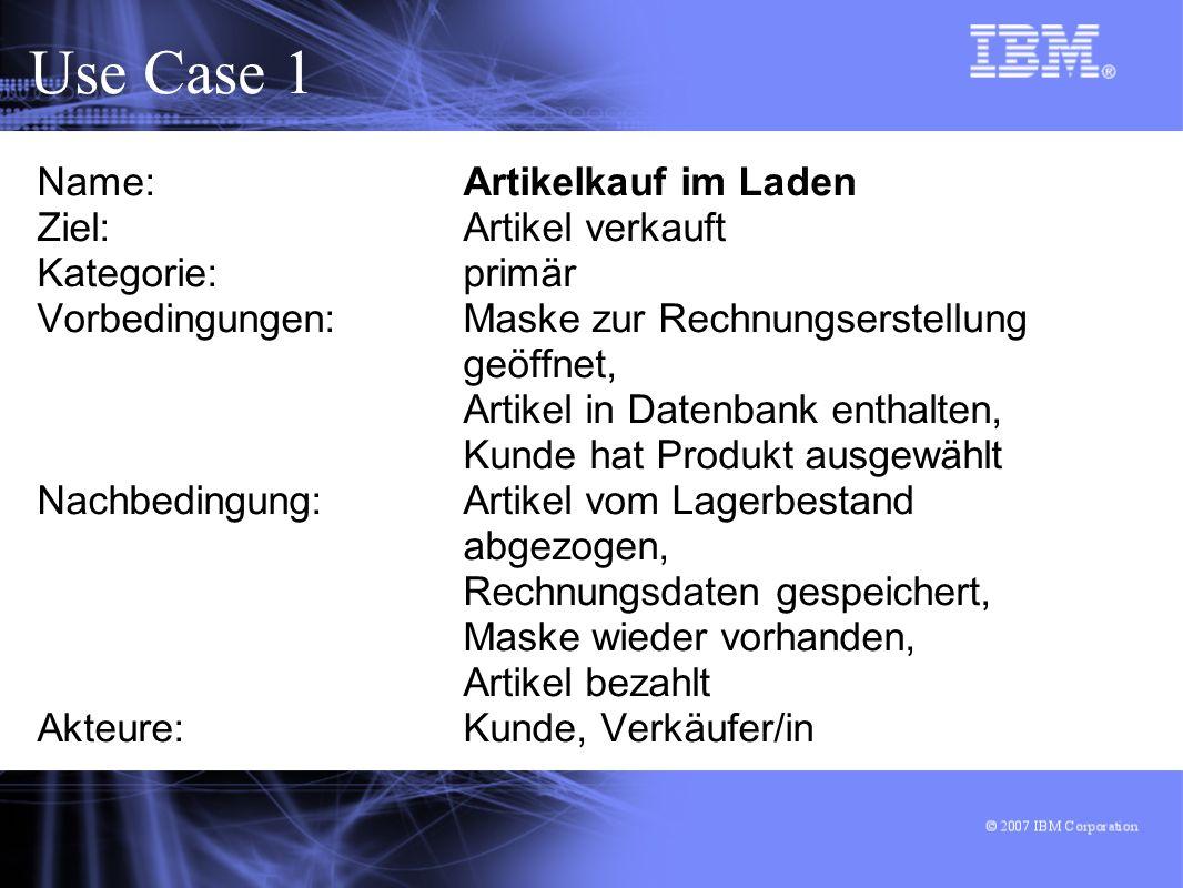 Use Case 1 Name: Artikelkauf im Laden Ziel: Artikel verkauft