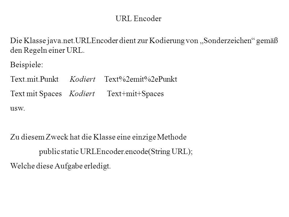 """URL EncoderDie Klasse java.net.URLEncoder dient zur Kodierung von """"Sonderzeichen gemäß den Regeln einer URL."""