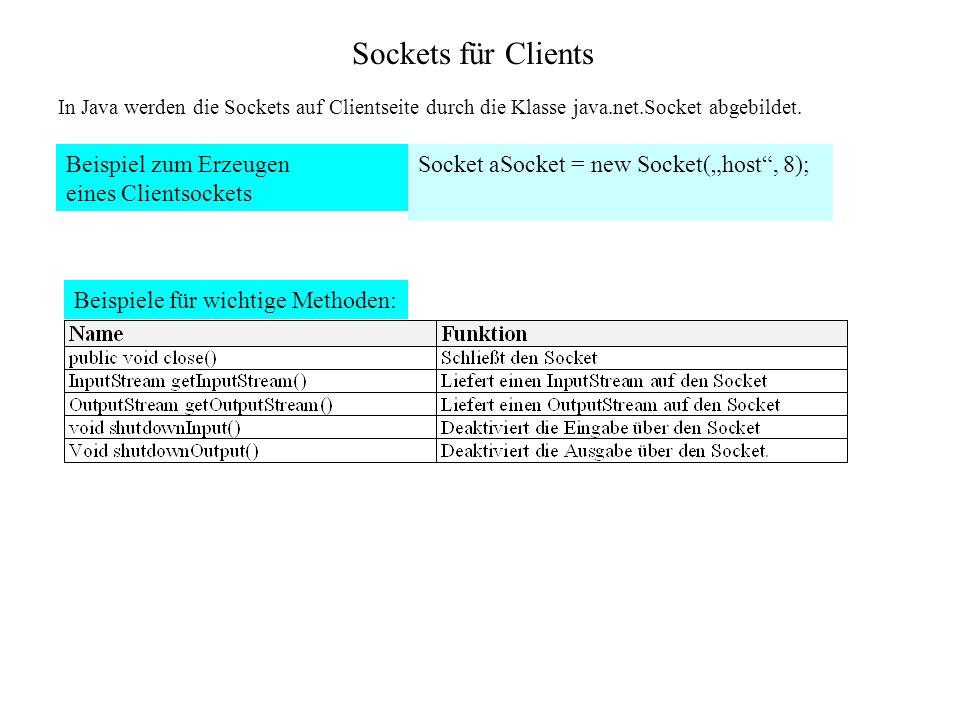 Sockets für Clients Beispiel zum Erzeugen eines Clientsockets