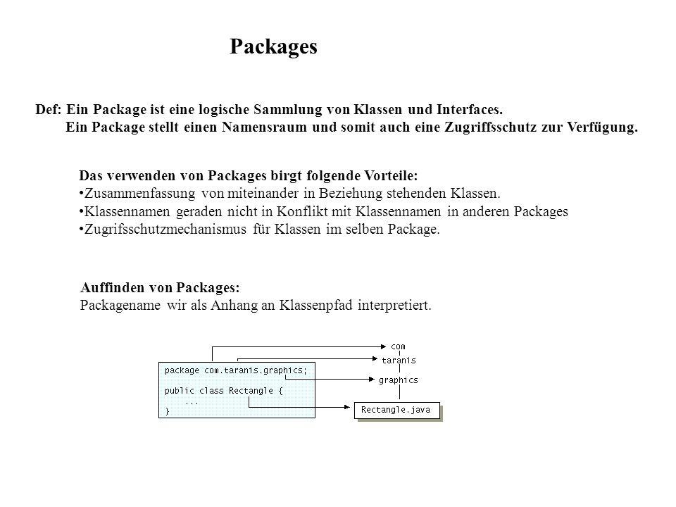 Packages Def: Ein Package ist eine logische Sammlung von Klassen und Interfaces.