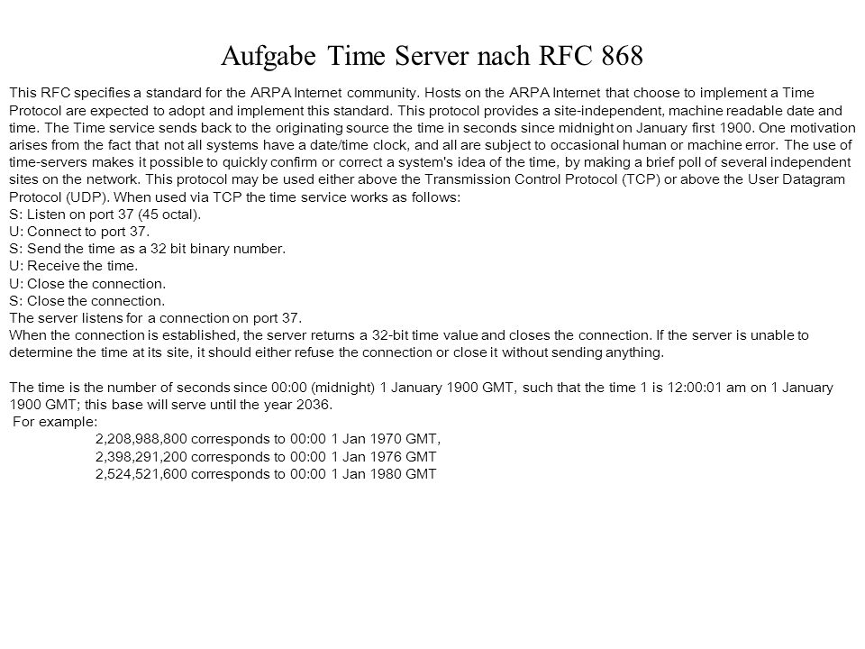 Aufgabe Time Server nach RFC 868