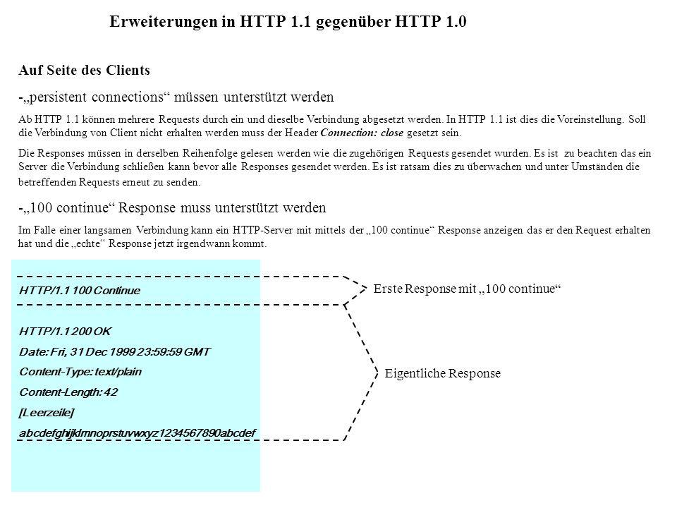 Erweiterungen in HTTP 1.1 gegenüber HTTP 1.0