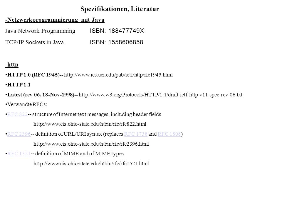 Spezifikationen, Literatur