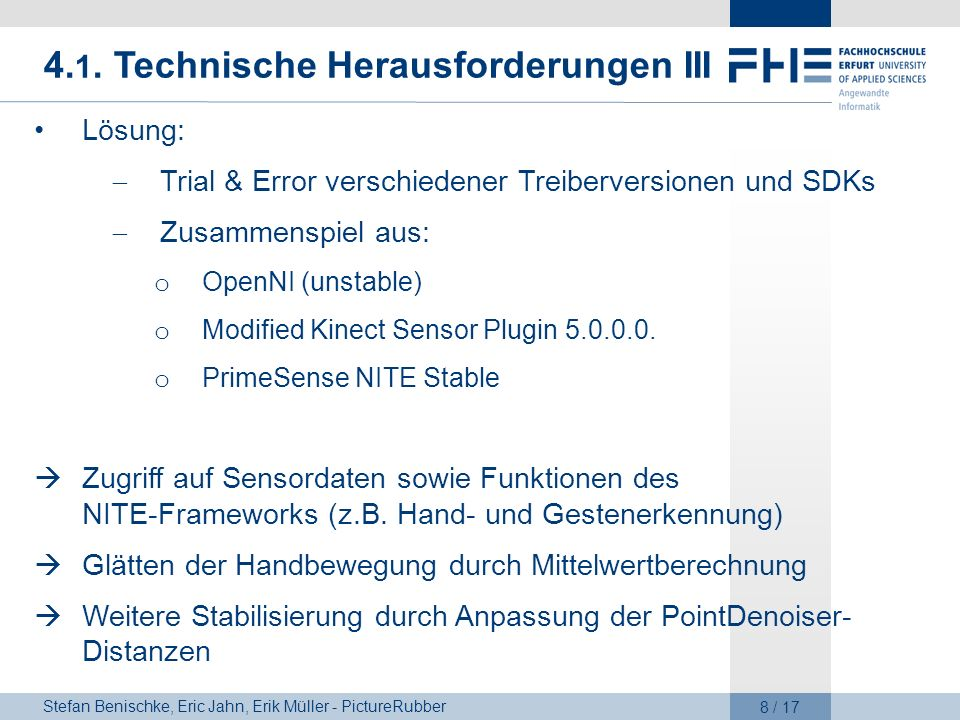 4.1. Technische Herausforderungen III
