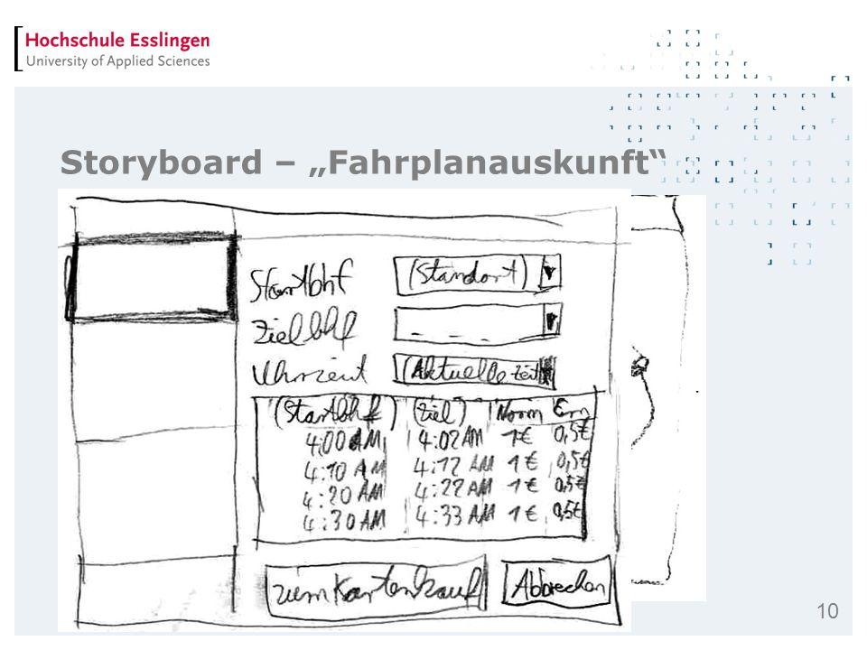 "Storyboard – ""Fahrplanauskunft"