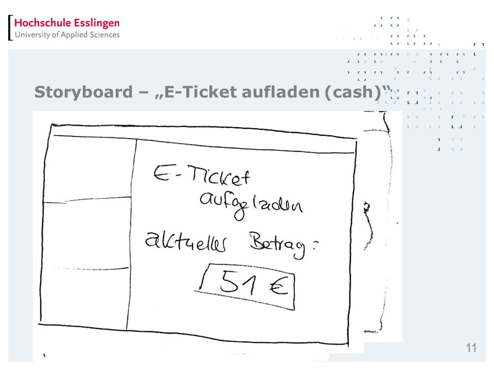"Storyboard – ""E-Ticket aufladen (cash)"