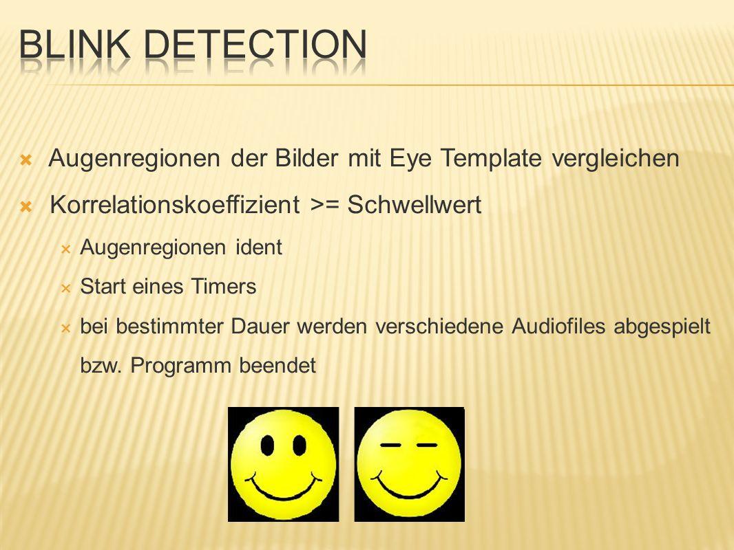 Blink Detection Augenregionen der Bilder mit Eye Template vergleichen