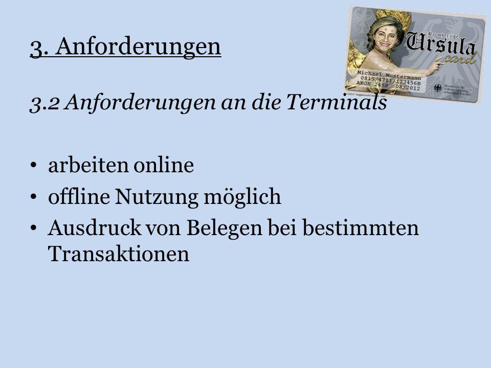 3. Anforderungen 3.2 Anforderungen an die Terminals arbeiten online