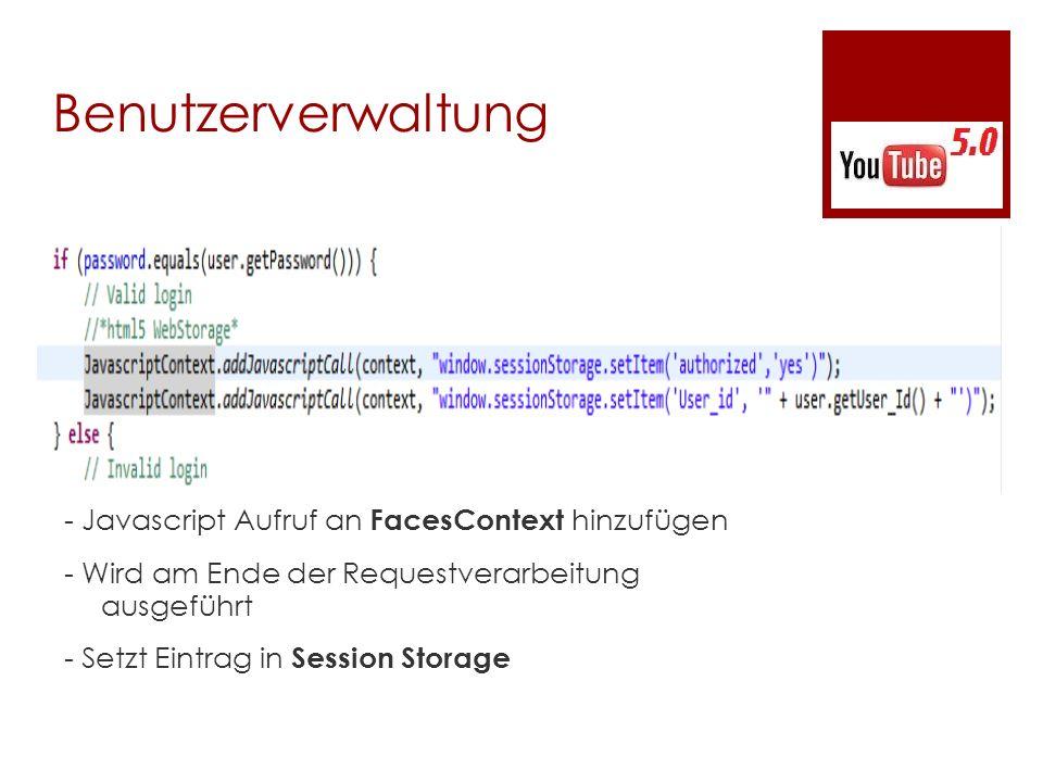Benutzerverwaltung - Javascript Aufruf an FacesContext hinzufügen