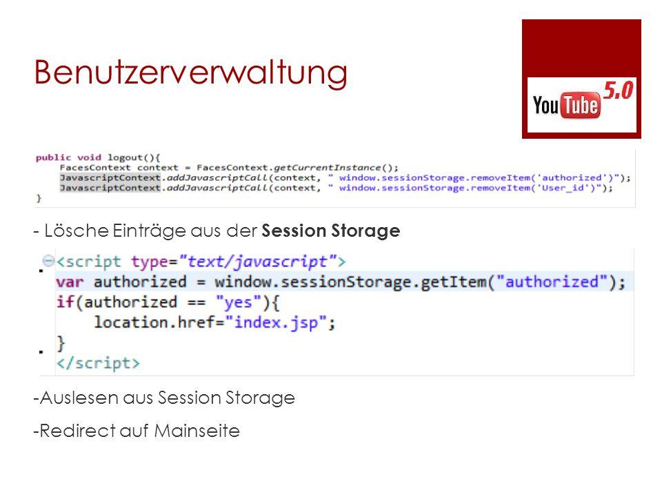 Benutzerverwaltung - Lösche Einträge aus der Session Storage