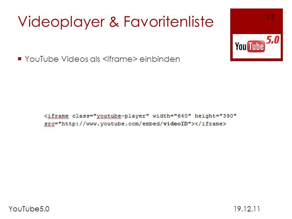 Videoplayer & Favoritenliste