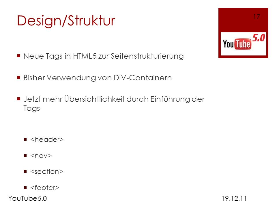 Design/Struktur Neue Tags in HTML5 zur Seitenstrukturierung